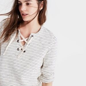 Madewell Striped Lace up Sweatshirt